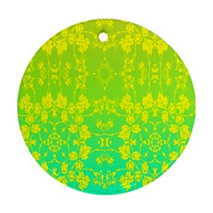 Floral Flower Leaf Yellow Blue Round Ornament (two Sides)