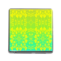 Floral Flower Leaf Yellow Blue Memory Card Reader (Square)