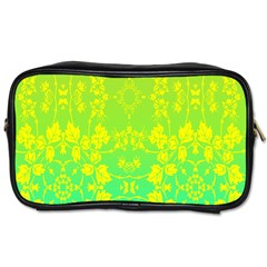 Floral Flower Leaf Yellow Blue Toiletries Bags 2-Side