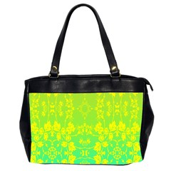 Floral Flower Leaf Yellow Blue Office Handbags (2 Sides)