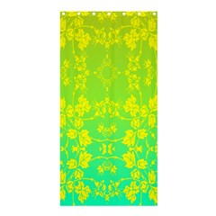 Floral Flower Leaf Yellow Blue Shower Curtain 36  x 72  (Stall)