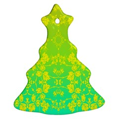 Floral Flower Leaf Yellow Blue Ornament (Christmas Tree)