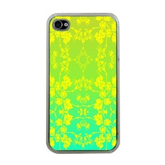 Floral Flower Leaf Yellow Blue Apple iPhone 4 Case (Clear)