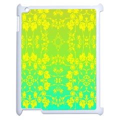 Floral Flower Leaf Yellow Blue Apple iPad 2 Case (White)