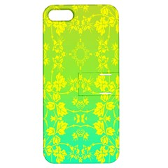 Floral Flower Leaf Yellow Blue Apple iPhone 5 Hardshell Case with Stand