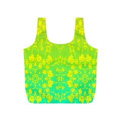 Floral Flower Leaf Yellow Blue Full Print Recycle Bags (S)
