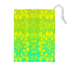 Floral Flower Leaf Yellow Blue Drawstring Pouches (Extra Large)