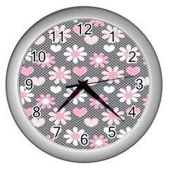 Flower Floral Rose Sunflower Pink Grey Love Heart Valentine Wall Clocks (Silver)