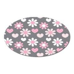 Flower Floral Rose Sunflower Pink Grey Love Heart Valentine Oval Magnet