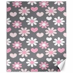 Flower Floral Rose Sunflower Pink Grey Love Heart Valentine Canvas 20  x 24