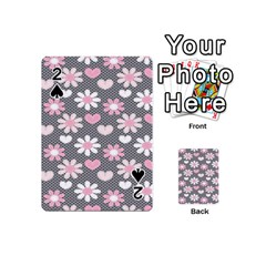 Flower Floral Rose Sunflower Pink Grey Love Heart Valentine Playing Cards 54 (Mini)