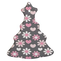 Flower Floral Rose Sunflower Pink Grey Love Heart Valentine Christmas Tree Ornament (Two Sides)