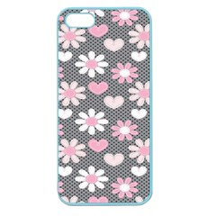 Flower Floral Rose Sunflower Pink Grey Love Heart Valentine Apple Seamless iPhone 5 Case (Color)