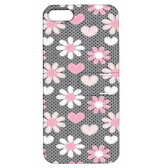 Flower Floral Rose Sunflower Pink Grey Love Heart Valentine Apple iPhone 5 Hardshell Case with Stand