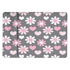 Flower Floral Rose Sunflower Pink Grey Love Heart Valentine Samsung Galaxy Tab 10.1  P7500 Flip Case