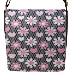 Flower Floral Rose Sunflower Pink Grey Love Heart Valentine Flap Messenger Bag (S)