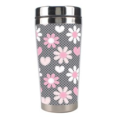 Flower Floral Rose Sunflower Pink Grey Love Heart Valentine Stainless Steel Travel Tumblers
