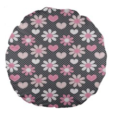 Flower Floral Rose Sunflower Pink Grey Love Heart Valentine Large 18  Premium Flano Round Cushions