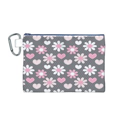 Flower Floral Rose Sunflower Pink Grey Love Heart Valentine Canvas Cosmetic Bag (M)