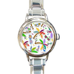Glasses Coconut Tree Color Rainbow Purple Yellow Orange Green Red Pink Brown Line Round Italian Charm Watch