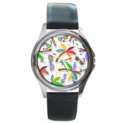 Glasses Coconut Tree Color Rainbow Purple Yellow Orange Green Red Pink Brown Line Round Metal Watch
