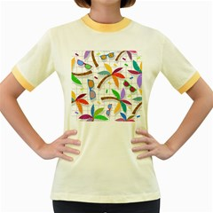 Glasses Coconut Tree Color Rainbow Purple Yellow Orange Green Red Pink Brown Line Women s Fitted Ringer T Shirts