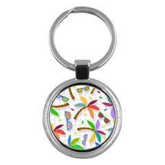 Glasses Coconut Tree Color Rainbow Purple Yellow Orange Green Red Pink Brown Line Key Chains (Round)