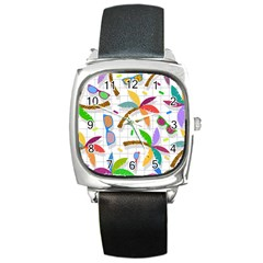 Glasses Coconut Tree Color Rainbow Purple Yellow Orange Green Red Pink Brown Line Square Metal Watch