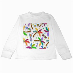 Glasses Coconut Tree Color Rainbow Purple Yellow Orange Green Red Pink Brown Line Kids Long Sleeve T-Shirts