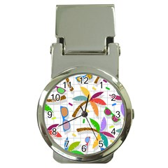 Glasses Coconut Tree Color Rainbow Purple Yellow Orange Green Red Pink Brown Line Money Clip Watches