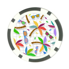 Glasses Coconut Tree Color Rainbow Purple Yellow Orange Green Red Pink Brown Line Poker Chip Card Guard