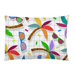 Glasses Coconut Tree Color Rainbow Purple Yellow Orange Green Red Pink Brown Line Pillow Case