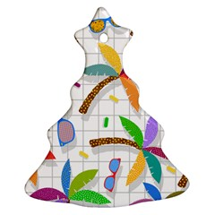 Glasses Coconut Tree Color Rainbow Purple Yellow Orange Green Red Pink Brown Line Christmas Tree Ornament (Two Sides)