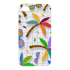 Glasses Coconut Tree Color Rainbow Purple Yellow Orange Green Red Pink Brown Line Apple iPhone 4/4S Hardshell Case