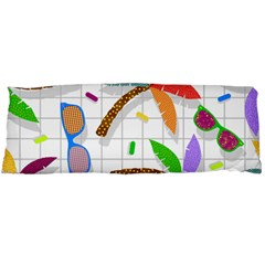 Glasses Coconut Tree Color Rainbow Purple Yellow Orange Green Red Pink Brown Line Body Pillow Case Dakimakura (Two Sides)