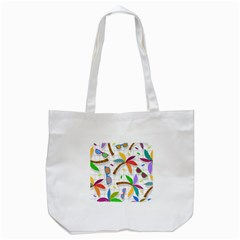 Glasses Coconut Tree Color Rainbow Purple Yellow Orange Green Red Pink Brown Line Tote Bag (White)