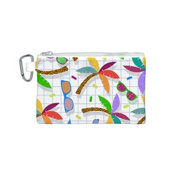 Glasses Coconut Tree Color Rainbow Purple Yellow Orange Green Red Pink Brown Line Canvas Cosmetic Bag (S)