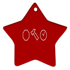 Hour Hammer Plaid Red Sign Ornament (Star)