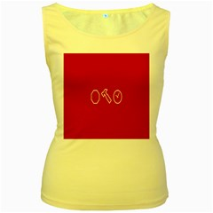Hour Hammer Plaid Red Sign Women s Yellow Tank Top