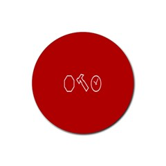 Hour Hammer Plaid Red Sign Rubber Round Coaster (4 pack)