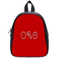 Hour Hammer Plaid Red Sign School Bags (Small)