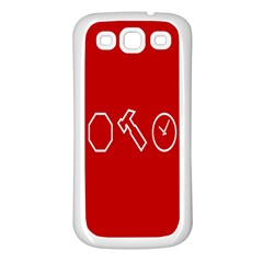 Hour Hammer Plaid Red Sign Samsung Galaxy S3 Back Case (White)