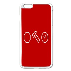 Hour Hammer Plaid Red Sign Apple iPhone 6 Plus/6S Plus Enamel White Case