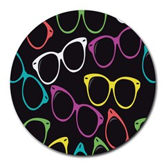 Glasses Color Pink Mpurple Green Yellow Blue Rainbow Black Round Mousepads