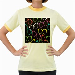 Glasses Color Pink Mpurple Green Yellow Blue Rainbow Black Women s Fitted Ringer T Shirts