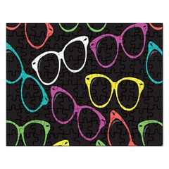 Glasses Color Pink Mpurple Green Yellow Blue Rainbow Black Rectangular Jigsaw Puzzl