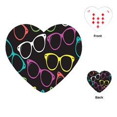 Glasses Color Pink Mpurple Green Yellow Blue Rainbow Black Playing Cards (Heart)