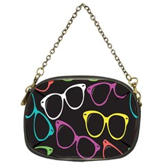 Glasses Color Pink Mpurple Green Yellow Blue Rainbow Black Chain Purses (Two Sides)