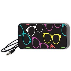 Glasses Color Pink Mpurple Green Yellow Blue Rainbow Black Portable Speaker (Black)
