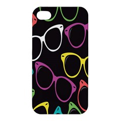Glasses Color Pink Mpurple Green Yellow Blue Rainbow Black Apple iPhone 4/4S Hardshell Case